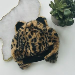Other - Leopard Fuzzy baby hat 12-18mos